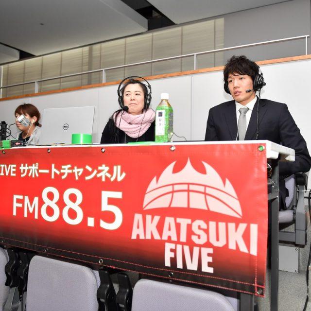 レバンガ北海道の桜井 良太選手が場内ラジオ解説を担当